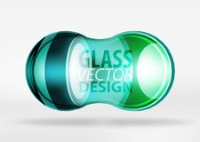 3d techno glass bubble design. Blue 3d techno glass bubble design, vector future hi-tech shapes with blurred effects Stock Image