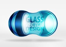 3d techno glass bubble design. Blue 3d techno glass bubble design, vector future hi-tech shapes with blurred effects Royalty Free Stock Images