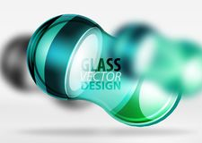 3d techno glass bubble design. Blue 3d techno glass bubble design, vector future hi-tech shapes with blurred effects Stock Photos