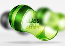 3d techno glass bubble design. Green 3d techno glass bubble design, vector future hi-tech shapes with blurred effects Stock Images