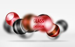 3d techno glass bubble design. Red 3d techno glass bubble design, vector future hi-tech shapes with blurred effects Royalty Free Stock Photos