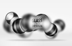 3d techno glass bubble design. Vector future hi-tech shapes with blurred effects Stock Photos