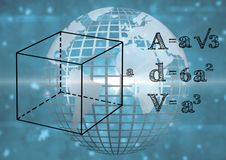 3D technological earth with blue background and mathematics graphic. Digital composite of 3D technological earth with blue background and mathematics graphic Royalty Free Stock Photos