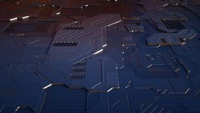 3d technology background. In ornage-blue color Royalty Free Stock Photo