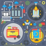 3d technology flat concept galaxy 3d printing and 3d scanning flat icons infographics design web elements, poster banner. 3d technology flat concept 3d printing Royalty Free Stock Images