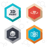 3d technology icons. Printer, rotation arrow. Hexagon buttons. 3d technology icons. Printer, rotation arrow sign symbols. Print cube. Labels with shadow. Vector Royalty Free Stock Images