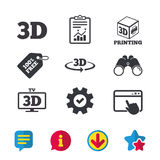 3d technology icons. Printer, rotation arrow. 3d technology icons. Printer, rotation arrow sign symbols. Print cube. Browser window, Report and Service signs Royalty Free Stock Image