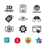 3d technology icons. Printer, rotation arrow. 3d technology icons. Printer, rotation arrow sign symbols. Print cube. Browser window, Report and Service signs Stock Images