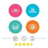 3d technology icons. Printer, rotation arrow. Stock Photos