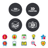 3d technology icons. Printer, rotation arrow. 3d technology icons. Printer, rotation arrow sign symbols. Print cube. Calendar, Information and Download signs Royalty Free Stock Photos