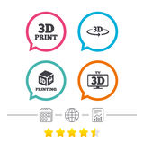 3d technology icons. Printer, rotation arrow. 3d technology icons. Printer, rotation arrow sign symbols. Print cube. Calendar, internet globe and report linear Stock Images