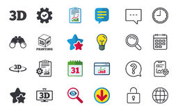 3d technology icons. Printer, rotation arrow. 3d technology icons. Printer, rotation arrow sign symbols. Print cube. Chat, Report and Calendar signs. Stars Royalty Free Stock Images