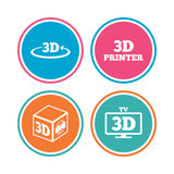 3d technology icons. Printer, rotation arrow. 3d technology icons. Printer, rotation arrow sign symbols. Print cube. Colored circle buttons. Vector Stock Photography