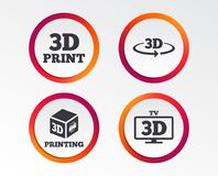 3d technology icons. Printer, rotation arrow. 3d technology icons. Printer, rotation arrow sign symbols. Print cube. Infographic design buttons. Circle Royalty Free Stock Photo