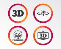 3d technology icons. Printer, rotation arrow. 3d technology icons. Printer, rotation arrow sign symbols. Print cube. Infographic design buttons. Circle Stock Photos