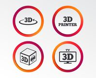 3d technology icons. Printer, rotation arrow. 3d technology icons. Printer, rotation arrow sign symbols. Print cube. Infographic design buttons. Circle Royalty Free Stock Photography