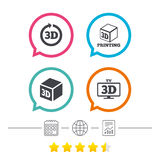 3d technology icons. Printer, rotation arrow. 3d tv technology icons. Printer, rotation arrow sign symbols. Print cube. Calendar, internet globe and report Royalty Free Stock Images