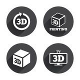 3d technology icons. Printer, rotation arrow. 3d tv technology icons. Printer, rotation arrow sign symbols. Print cube. Circles buttons with long flat shadow Stock Photography