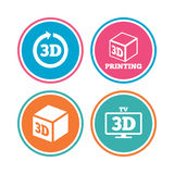 3d technology icons. Printer, rotation arrow. 3d tv technology icons. Printer, rotation arrow sign symbols. Print cube. Colored circle buttons. Vector Stock Images