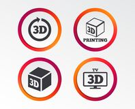 3d technology icons. Printer, rotation arrow. 3d tv technology icons. Printer, rotation arrow sign symbols. Print cube. Infographic design buttons. Circle Royalty Free Stock Photography