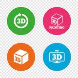 3d technology icons. Printer, rotation arrow. 3d tv technology icons. Printer, rotation arrow sign symbols. Print cube. Round buttons on transparent background Royalty Free Stock Images
