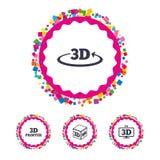 3d technology icons. Printer, rotation arrow. Stock Photo