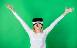3d technology, virtual reality, entertainment, cyberspace and people concept. Happy woman exploring augmented world. Interacting with digital interface stock photography