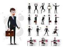 2D tecken för manlig affärsman som är klart att använda uppsättningen med skägget, bärande dräkt vektor illustrationer