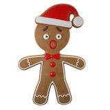 3d tecken, gladlynt pepparkaka, rolig garnering för jul, Arkivbild
