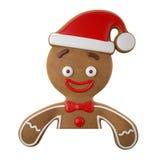 3d tecken, gladlynt pepparkaka, rolig garnering för jul, Royaltyfri Bild