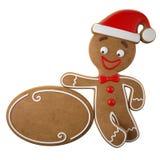 3d tecken, gladlynt pepparkaka, rolig garnering för jul, Arkivfoto