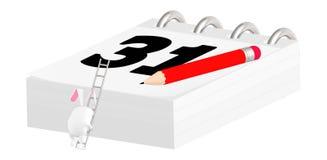 3d tecken, kanin som kliver in i en stege som når upp på en kalender med datum 31 vektor illustrationer