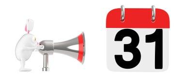3d tecken, kanin som nära talar till och med en megafon till en kalender med datum som 31 visas i den royaltyfri illustrationer