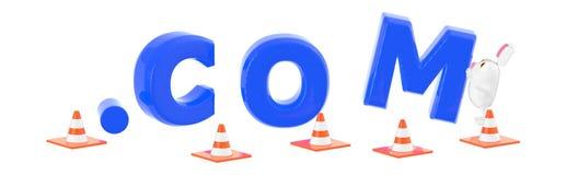 3d tecken, kaninflyttning/ordna com sorrounded av trafikkotten royaltyfri illustrationer