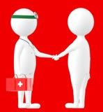 3d tecken, man som skakar handen med en medicinsk practioner, doktor vektor illustrationer