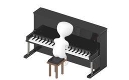 3d tecken, man som spelar pianot Arkivfoto