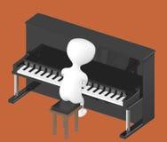 3d tecken, man som spelar pianot Royaltyfria Bilder