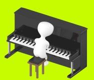 3d tecken, man som spelar pianot royaltyfri illustrationer