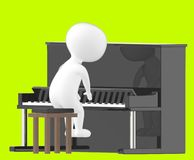 3d tecken, man som spelar pianot Arkivfoton