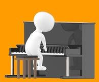 3d tecken, man som spelar pianot Royaltyfri Fotografi