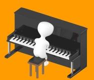 3d tecken, man som spelar pianot Royaltyfri Bild