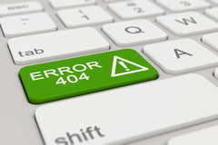 3d - teclado - error 404 - verde Imagenes de archivo