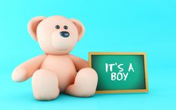 3d Teddy bear and Boy text. 3d illustration. It´s a Boy message written on blackboard with pink teddy bear Stock Photography