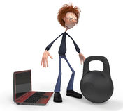 The 3D teenager with the computer and the weight. Stock Photos