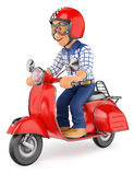 3D Teenager riding a scooter motorcycle Royalty Free Stock Photo