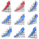 3d teeth bar graph with blue arrow Royalty Free Stock Photography