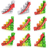 3d teeth bar graph with red arrow. Isolated on white background. Render set. Dental medicine health grow chart business statistic concept Stock Image