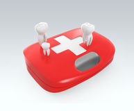 3D teeth and first aid kit. For oral care concept  Clipping path available Stock Photos