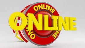 3d teken Online tekst Stock Foto