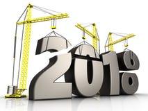 3d teken van het metaal 2018 jaar Stock Foto